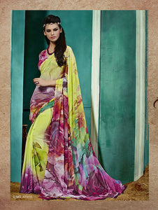 Multicolour and Yellow Georgette Saree
