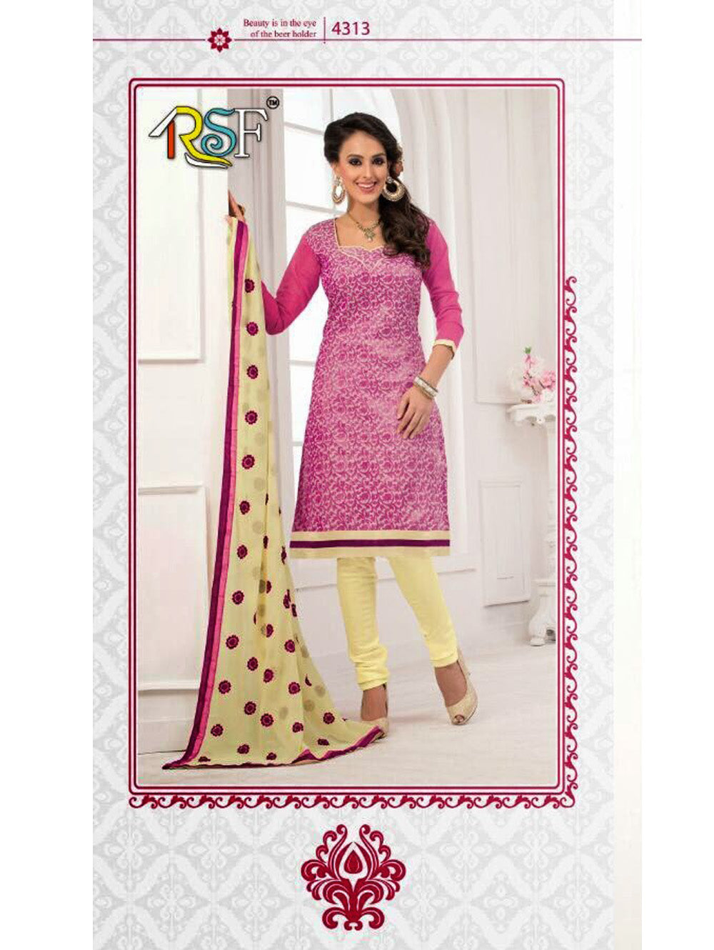 Pink and Ivory Chudidar Suit