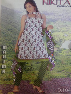 White and Olive Printed Salwar Suit