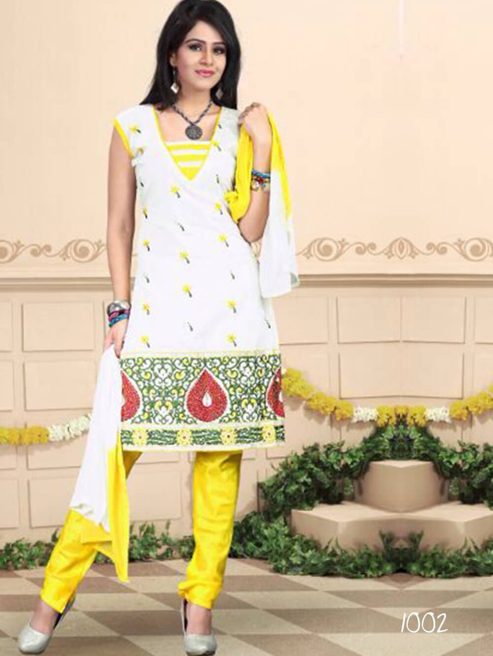White and Yellow Daily Wear Chanderi Salwar Suit