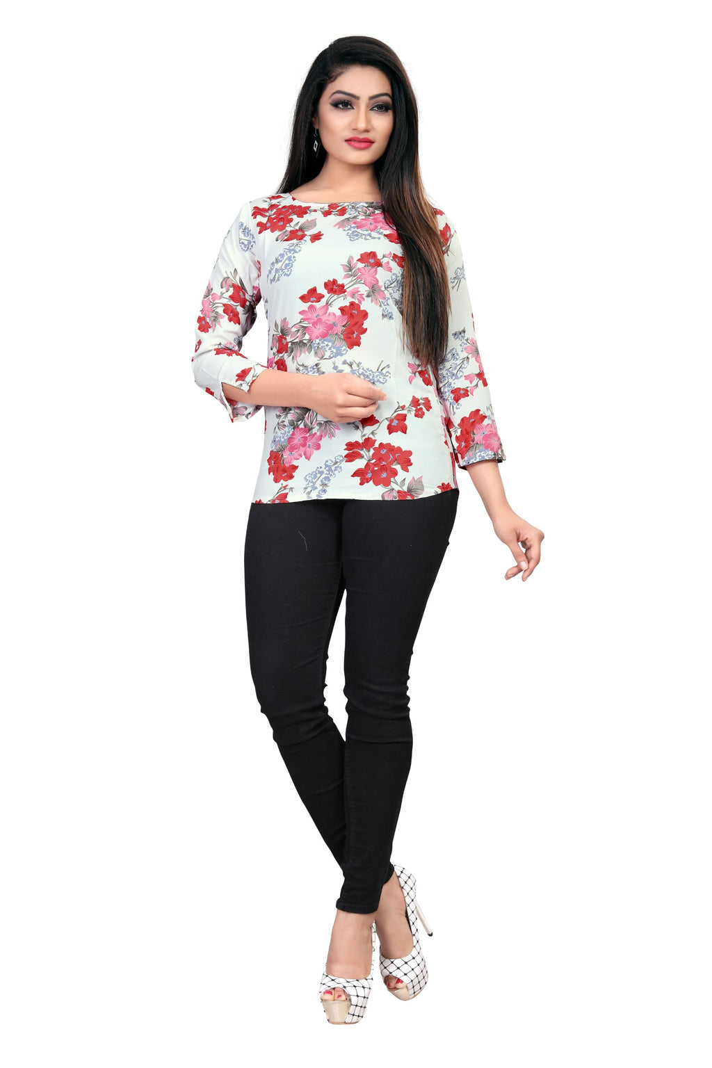 Premium Digital Printed Crepe - Western Top