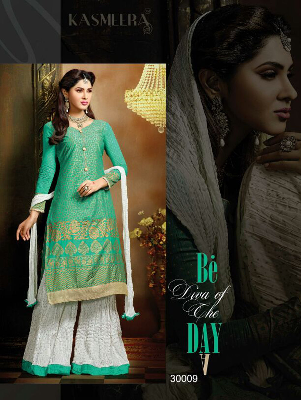 Sea Green Designer Fancy Exclusive Function Wear Semi-stitched Straight Palazzo  Suit at Wholesale Rate
