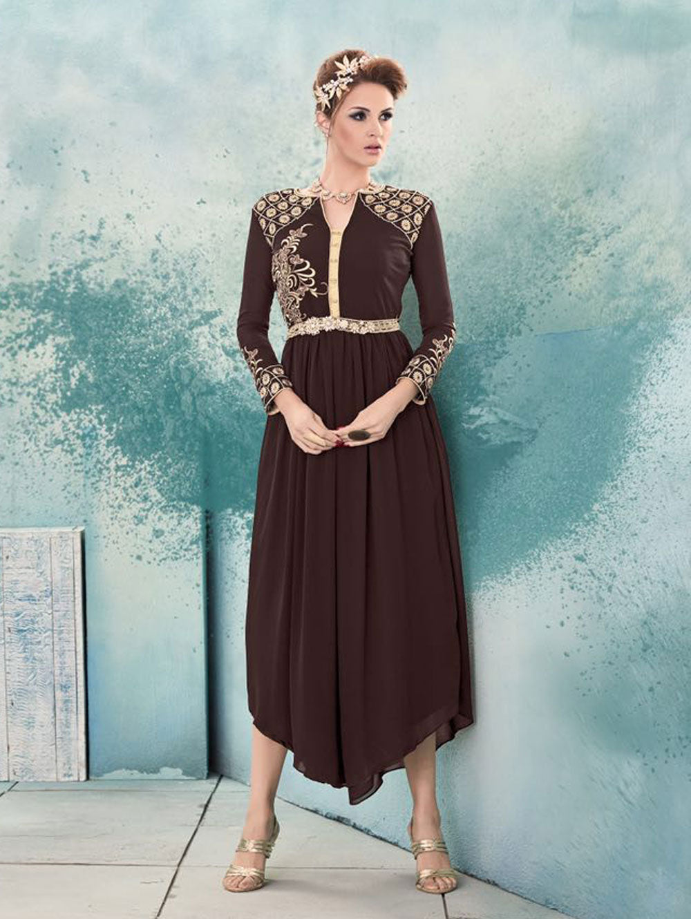 Bistre Brown and Ivory Designer Stitched Kurti