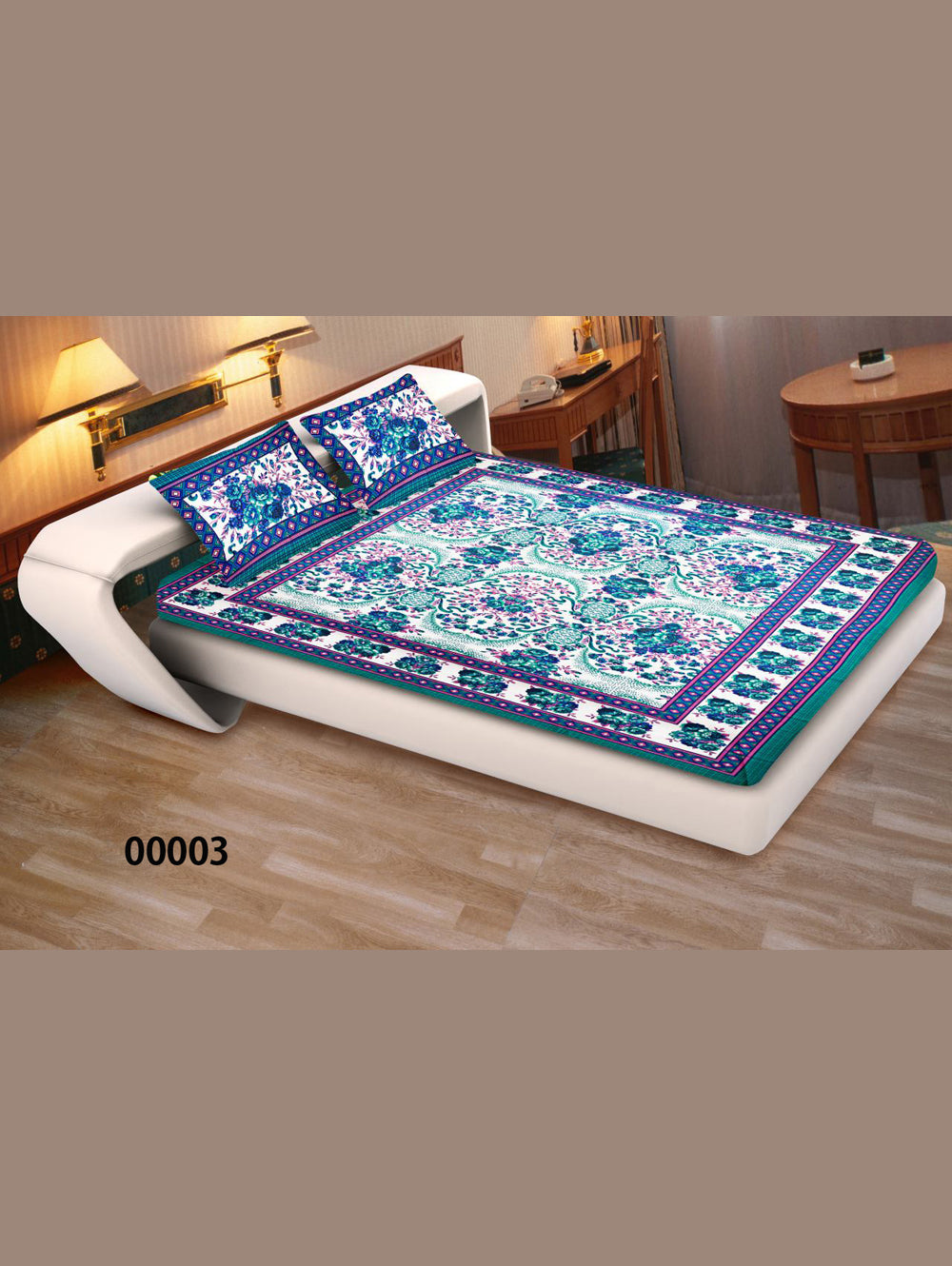 00003SeaGreen and Multicolour Ethnic Cotton Queen Size Floral Bedsheet With 2 Pillow Covers