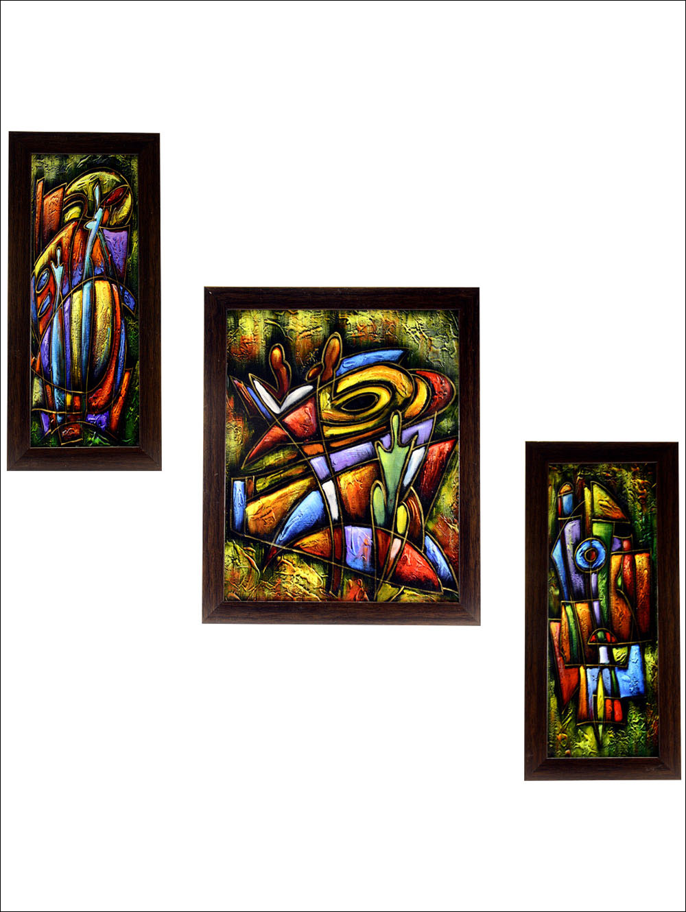 3 Pc Set Of Modern Abstract Paintings Without Glass