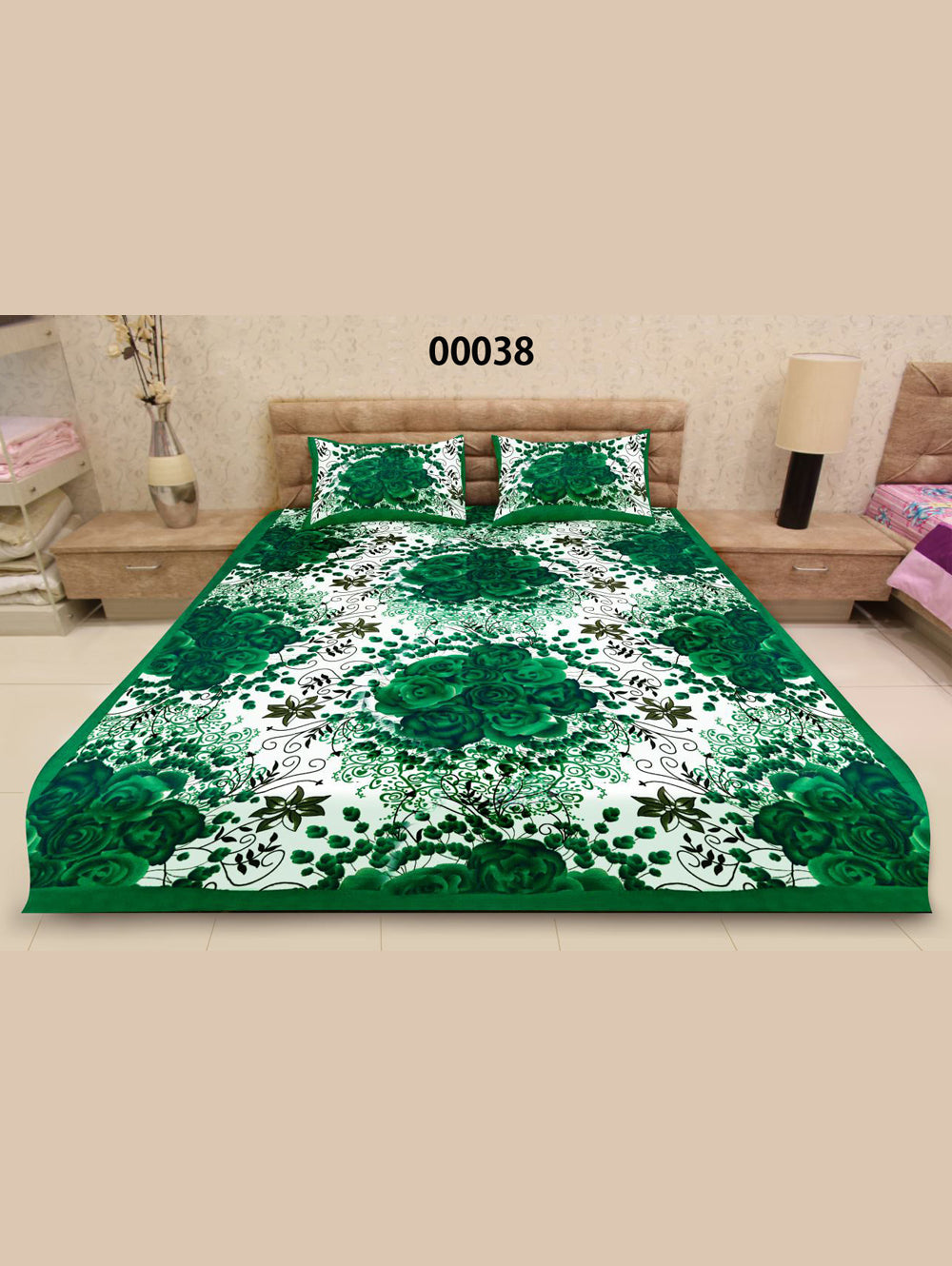00038Green and White Ethnic Cotton Queen Size Floral Bedsheet With 2 Pillow Covers