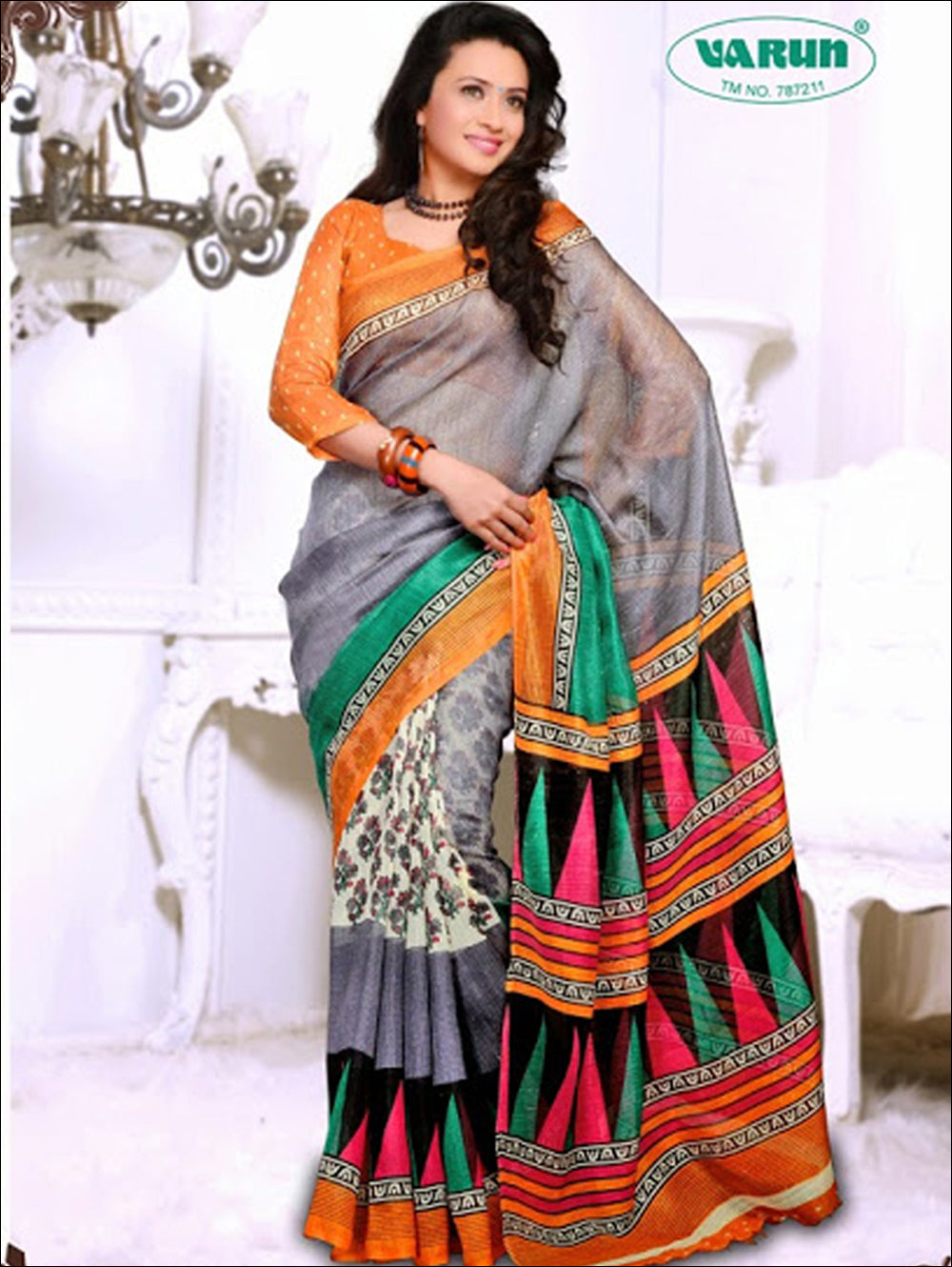 Orange and Slate Blue Daily Wear Cotton Based Saree