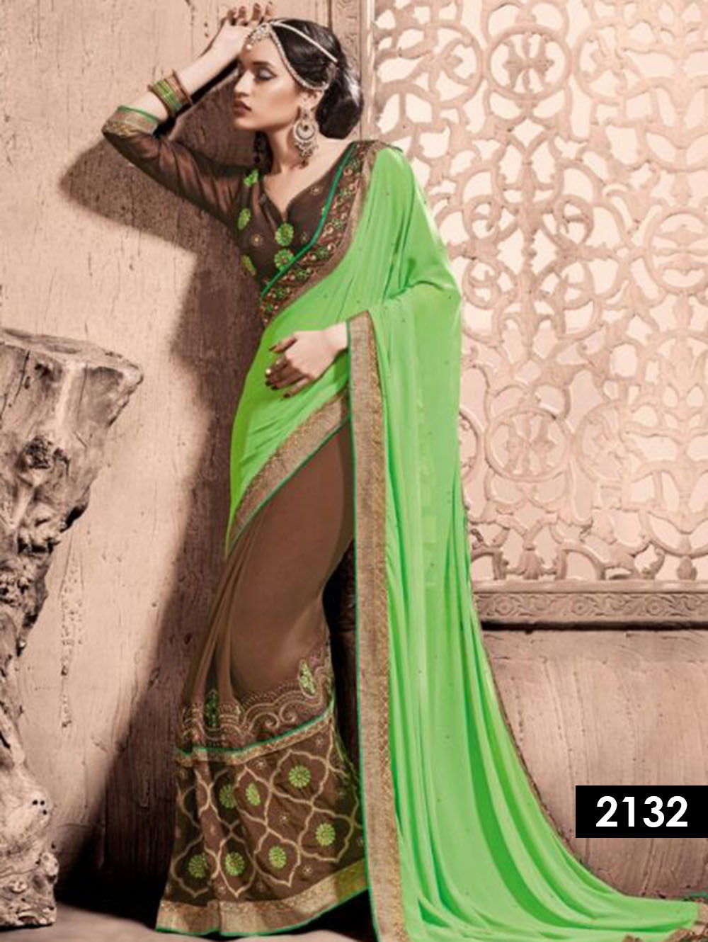 Coffee Exclusive Designer Georgette Saree
