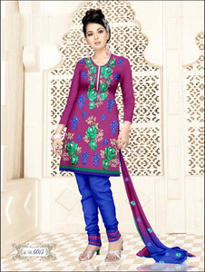 Purple and Blue Salwar Suit