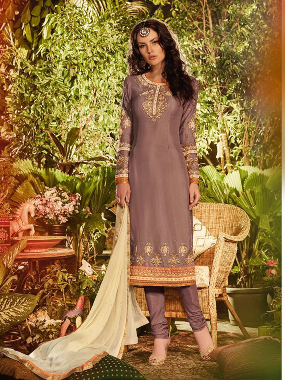 Copper Brown Occasional Wear Long Designer Straight Suit