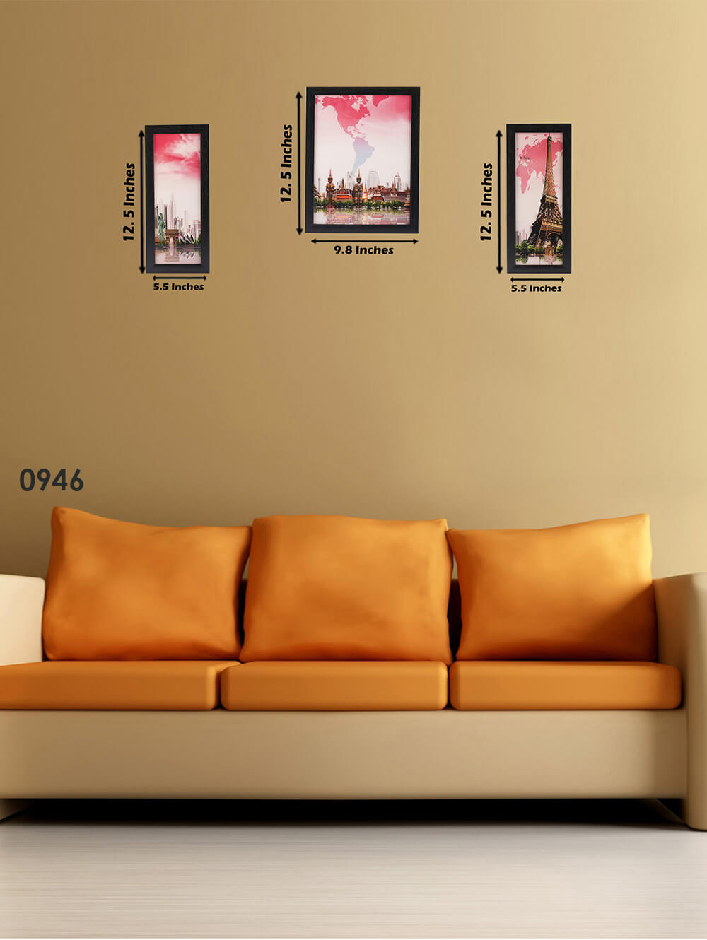 3 Pc Set Of Wall Paintings Without Glass