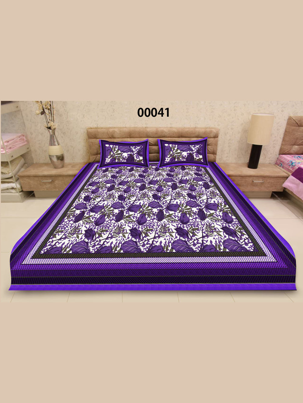 00041Indigo and White Ethnic Cotton Queen Size Floral Bedsheet With 2 Pillow Covers