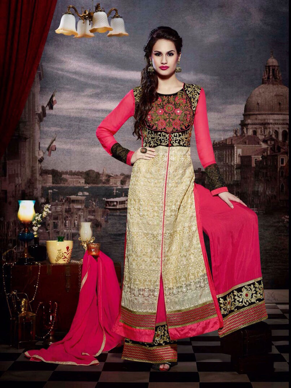 Beige and Hot Pink Faux Georgette Designer Suit