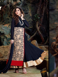 Dark Blue Red and Golden Semi Georgette Party Wear Designer Suit