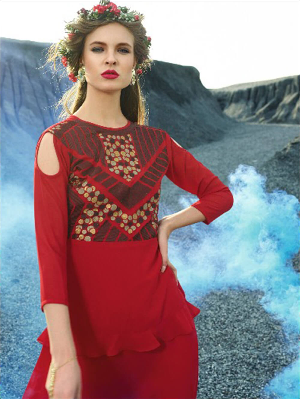 Red Designer Faux Georgette Stitched Kurti