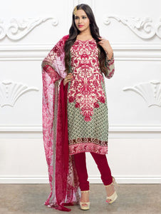 Magenta and Cream Printed Pure Cotton Party Wear Pakistani Style Indian Suit