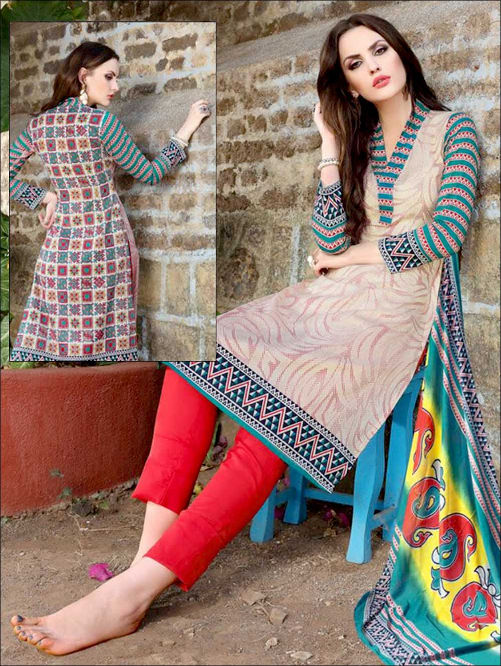 and Multicolour Printed Pure Cotton Long Concept Daily Wear Salwar Suit
