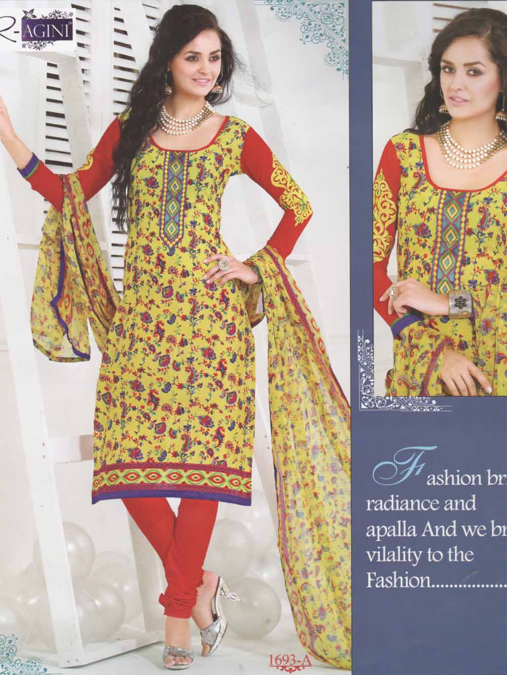Yellow and Red Cotton Straight Suit