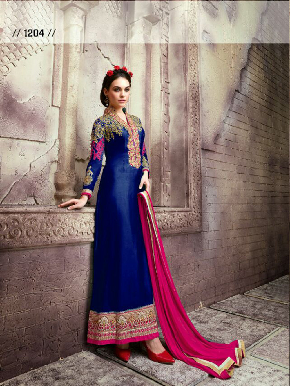 Blue and Golden Designer Semi-stitched Party Wear Straight Suit