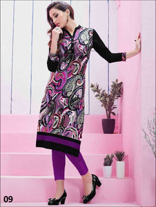 Magenta and Multicolour Printed Kurtis