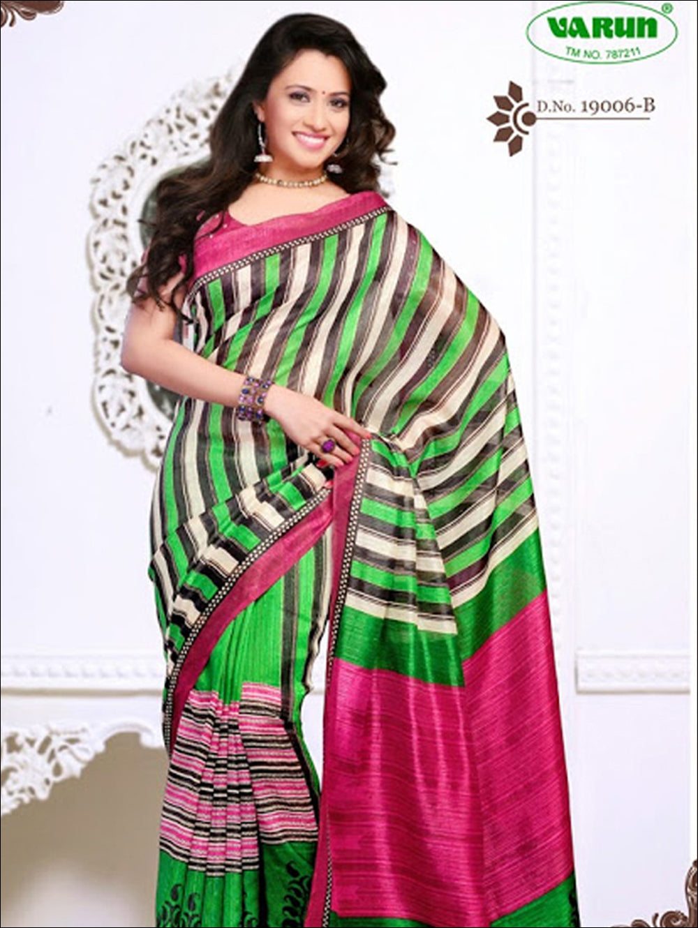 Dark Pink and Parrot Green Daily Wear Cotton Based Saree