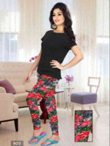 Red and Multicolour Floral Printed Leggings
