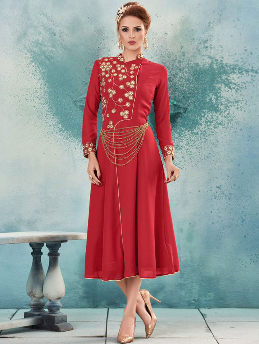 Red and Ivory Designer Stitched Kurti