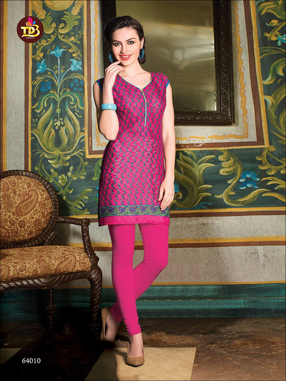 Magenta and Green Printed Stitched Kurtis