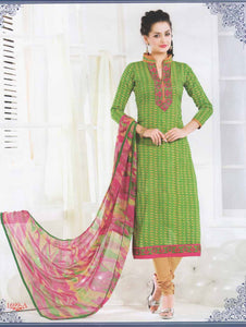 Green and Orange Cotton Straight Suit