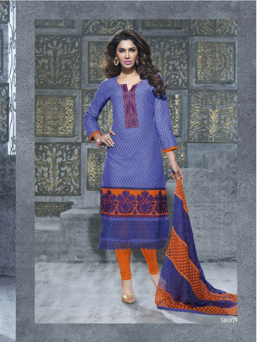 Dull Blue Designer Straight Suit