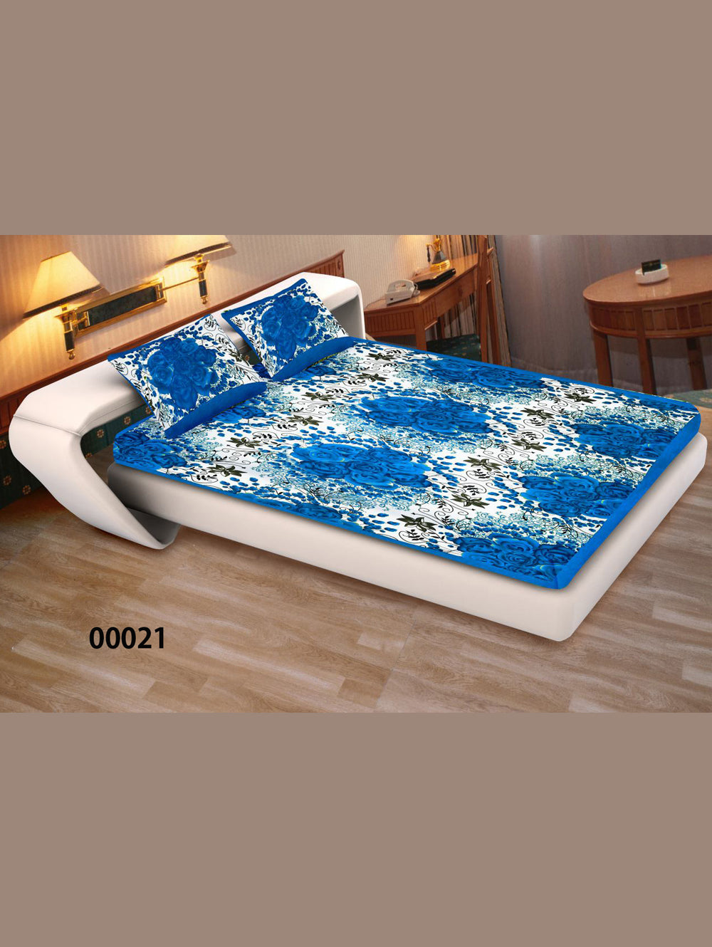 00021RoyalBlue and White Ethnic Cotton Queen Size Floral Bedsheet With 2 Pillow Covers