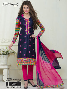Dark Blue and Deep Pink Embroidered Glace Cotton Occasional Wear Straight Suit