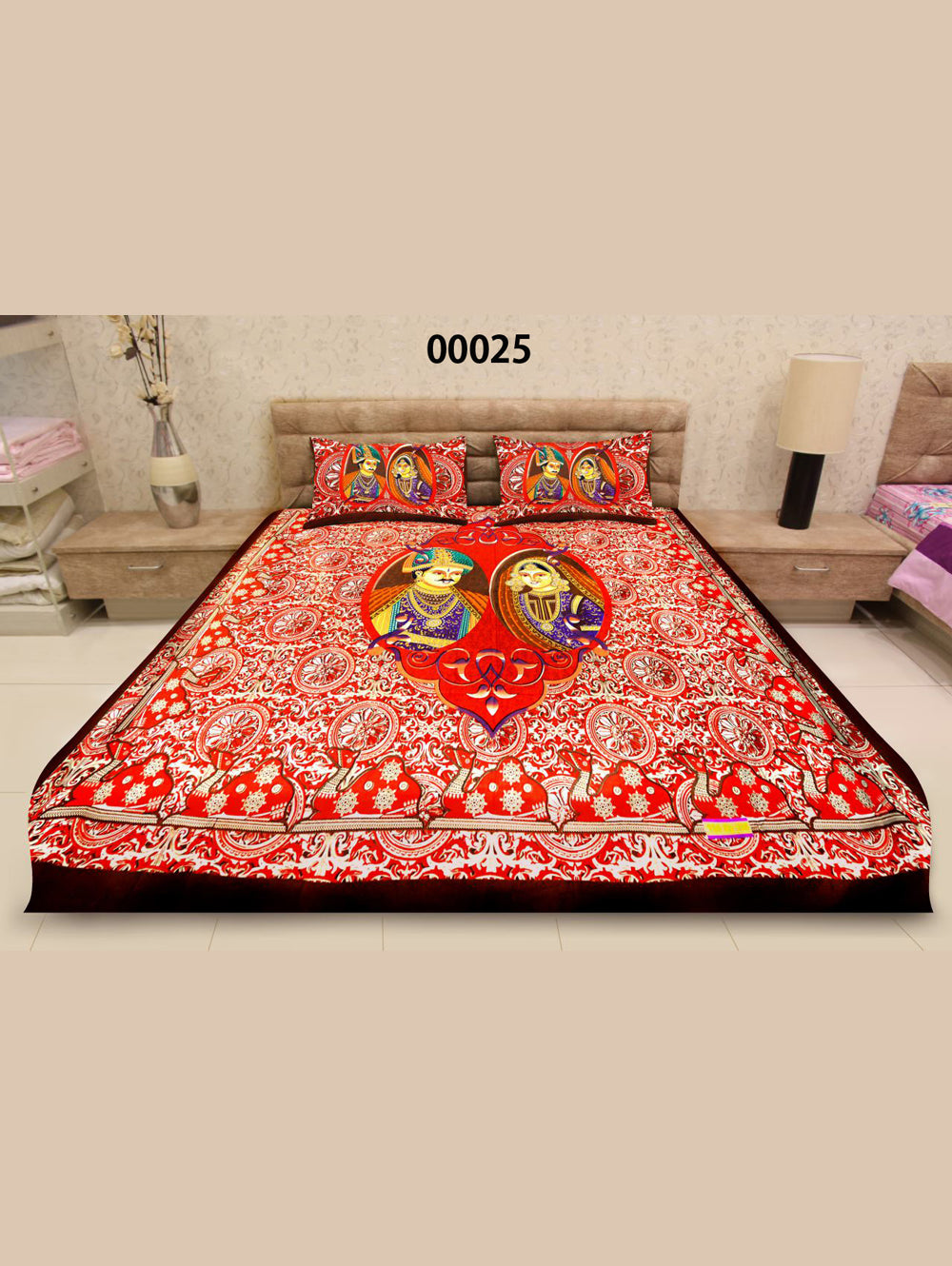 00025Red and Multicolour Traditional Cotton Queen Size Bedsheet With 2 Pillow Covers