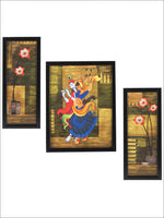 3 Pc Set Of Radha Krishna Paintings Without Glass