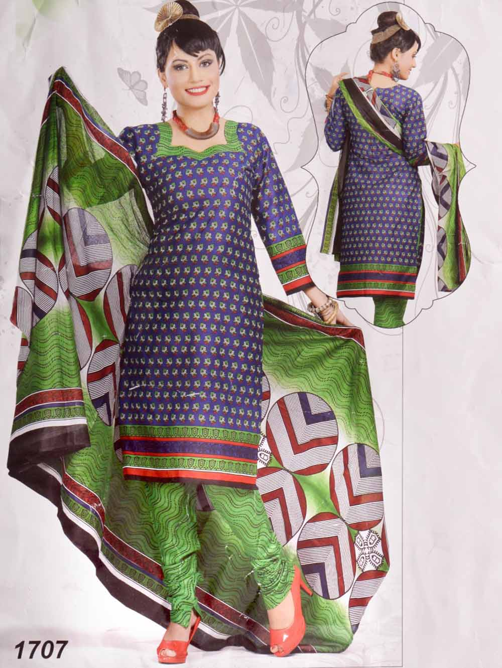Dark Blue Printed Salwar Suit