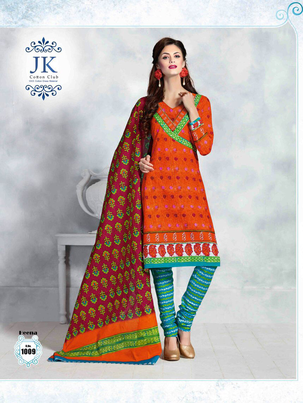 Orange Designer Daily Wear Cotton Salwar Suit