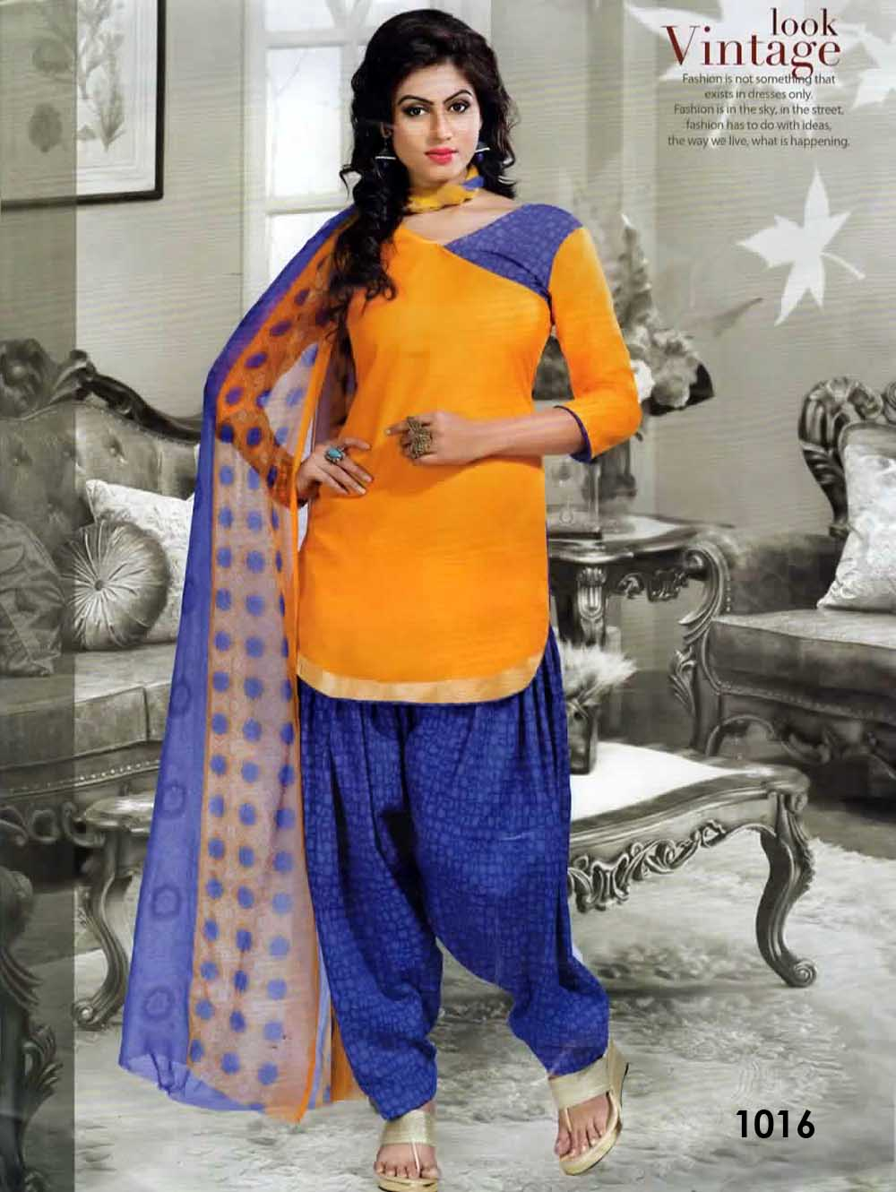 Mango Yellow Coloured Mix Cotton Patiala Suit