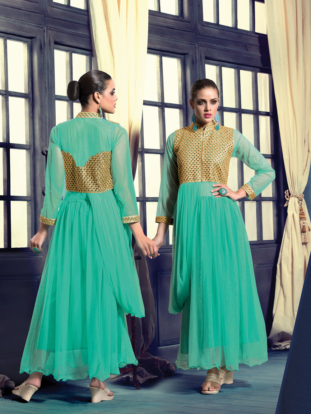 Spring Green Wedding Occasional Wear Designer Anarkali Style Gown
