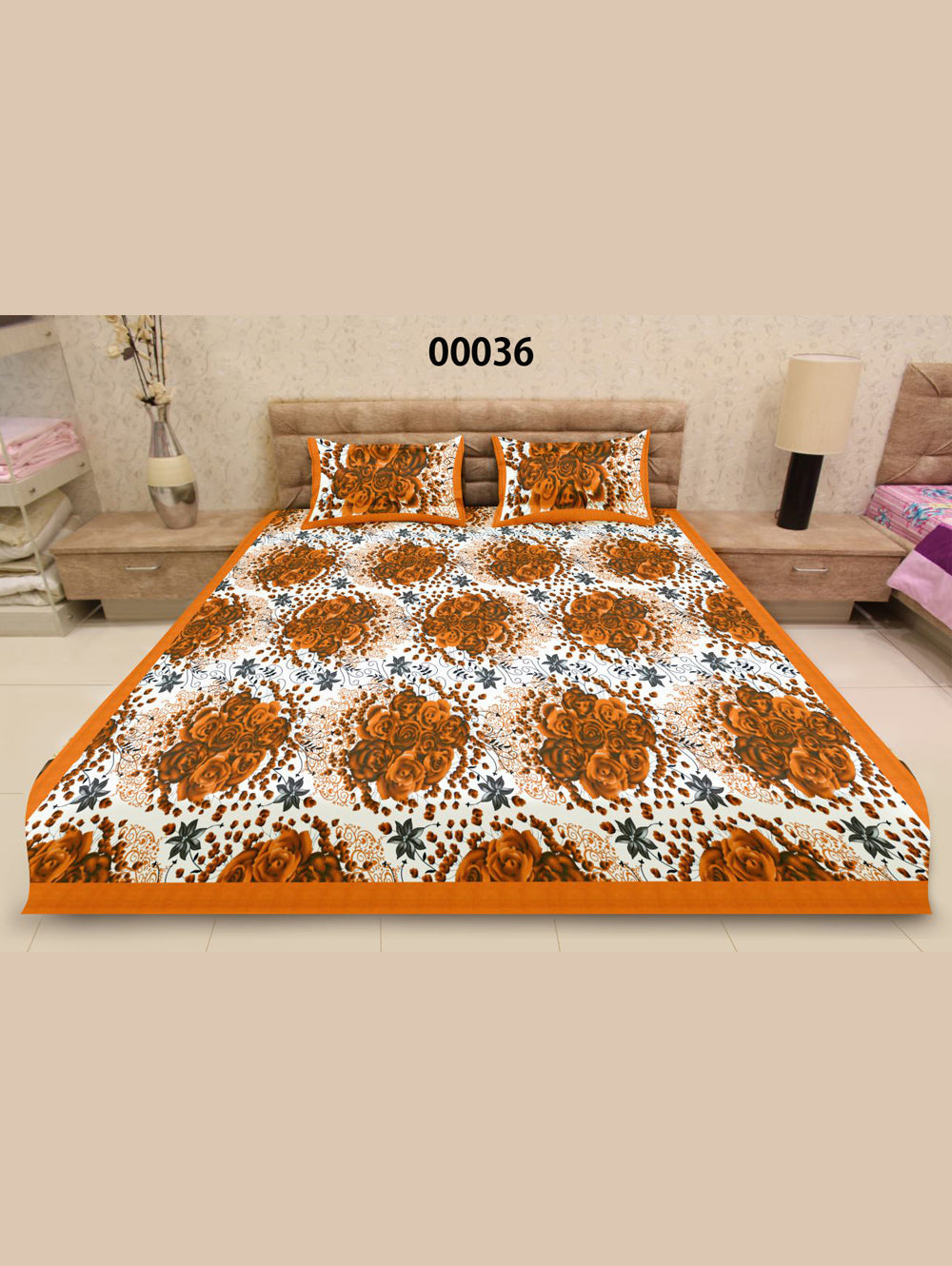 00036DarkOrange and White Ethnic Cotton Queen Size Floral Bedsheet With 2 Pillow Covers