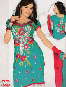 Sea Green and Crimson Georgette Straight Suit