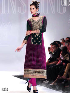 Black and Magenta Designer Straight Suit