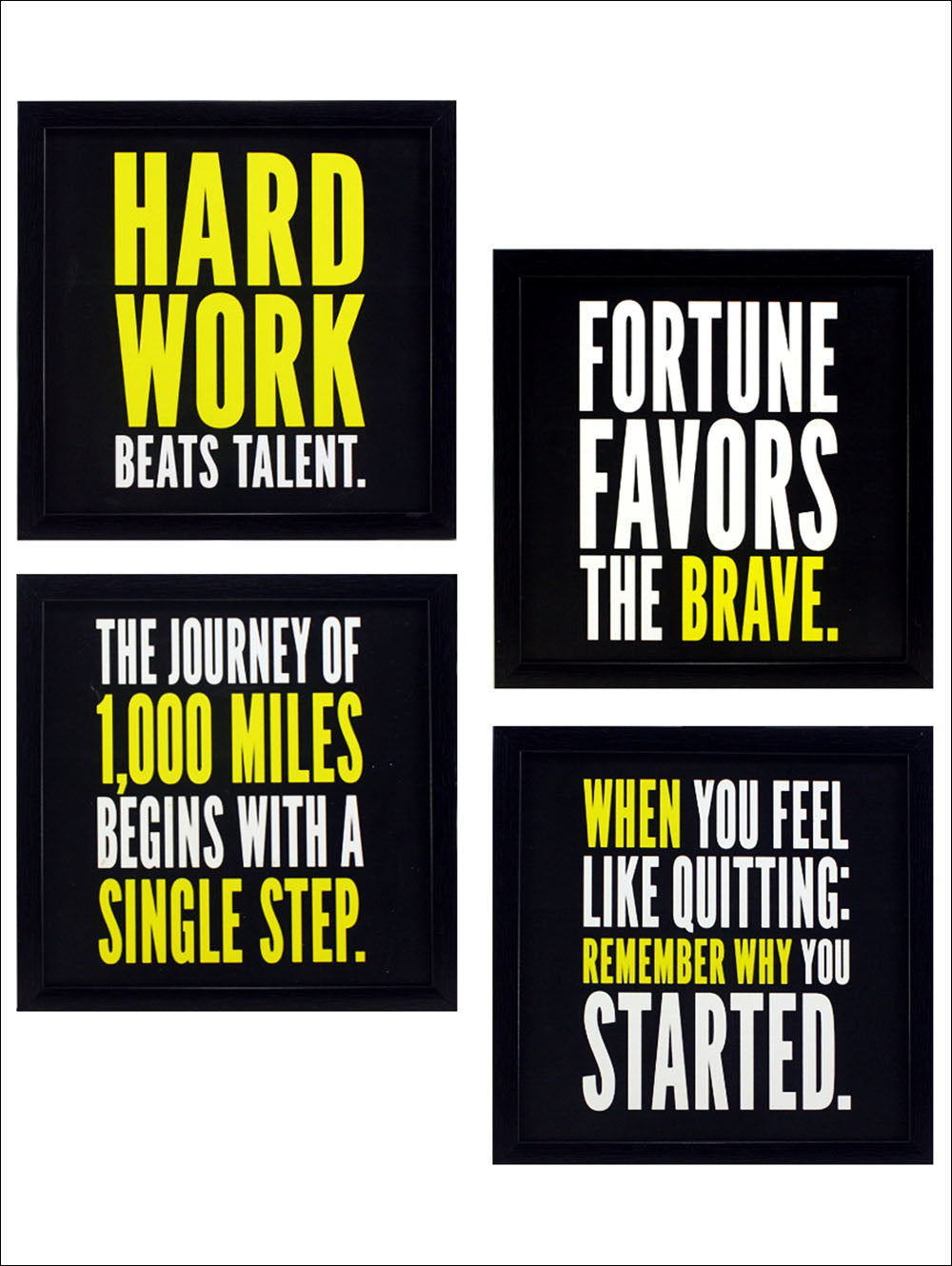 Indianara 4 Piece Set Of Framed Wall Hanging Motivational Office Decor Art Prints Without Glass