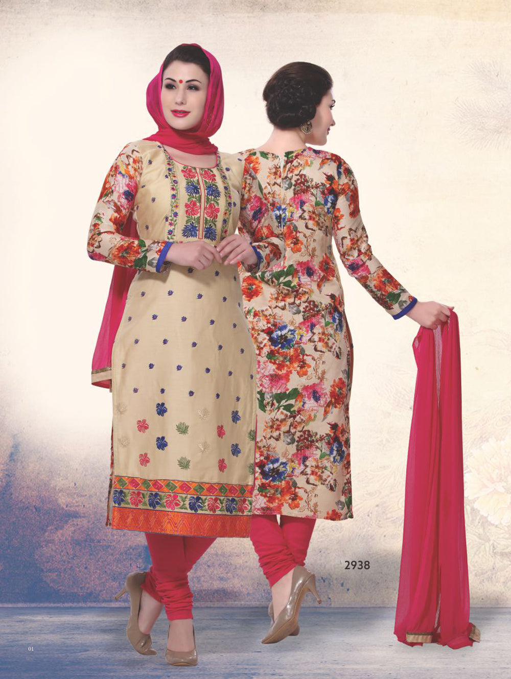 Sandy Brown and Red Printed Cotton Daily Wear Straight Suit