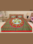 00071Red and Multicolour Traditional Cotton Queen Size Bedsheet With 2 Pillow Covers