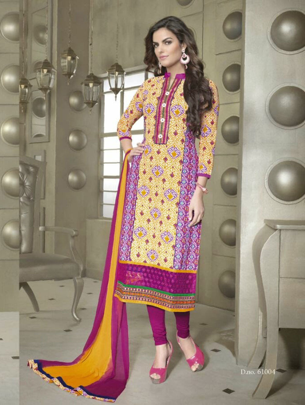 Turmeric Yellow and Pink Cotton Party Wear/Daily Wear Straight Suit