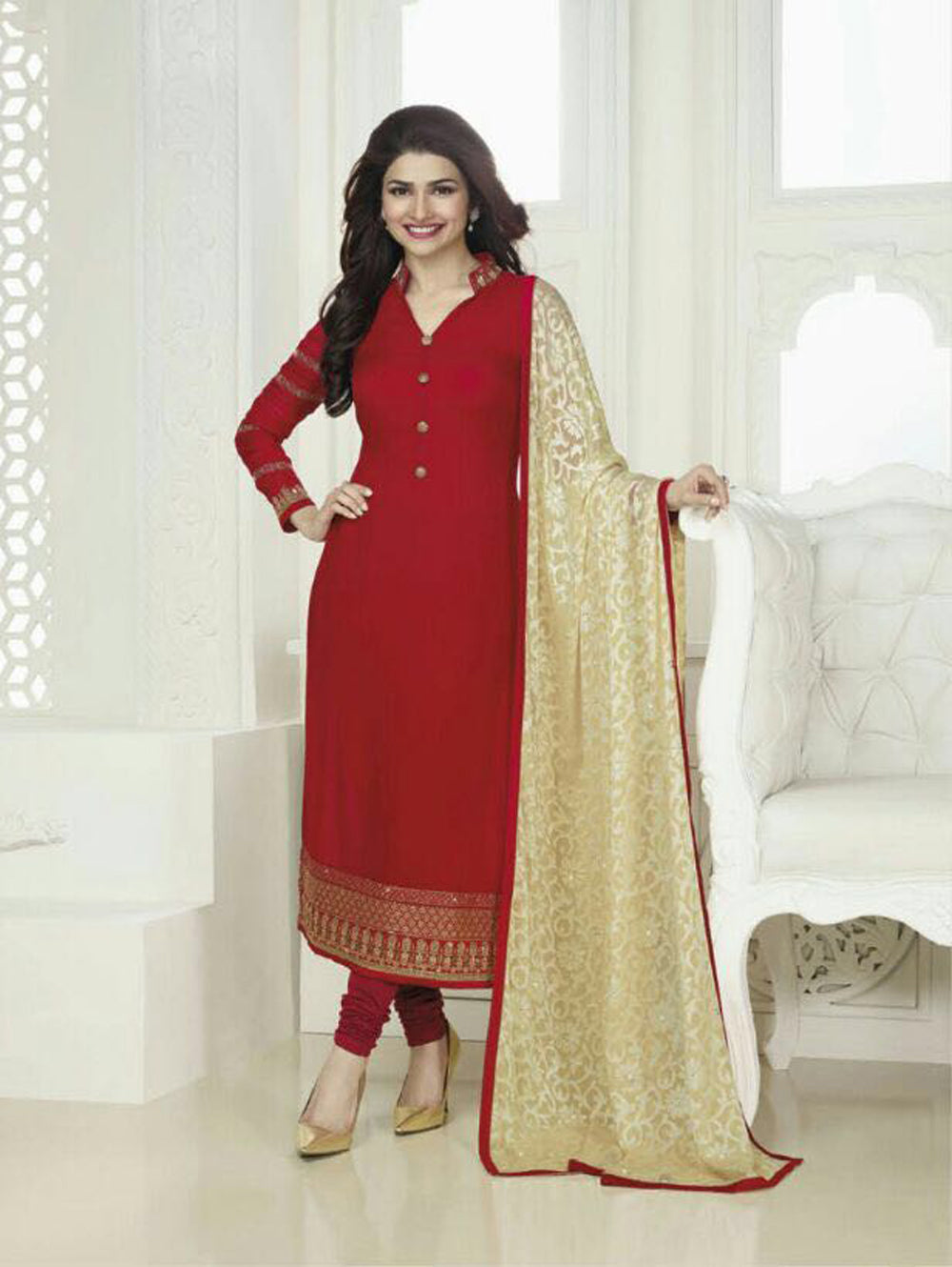 Red Exclusive Designer Traditional Party Wear Semi-stitched Straight Suit