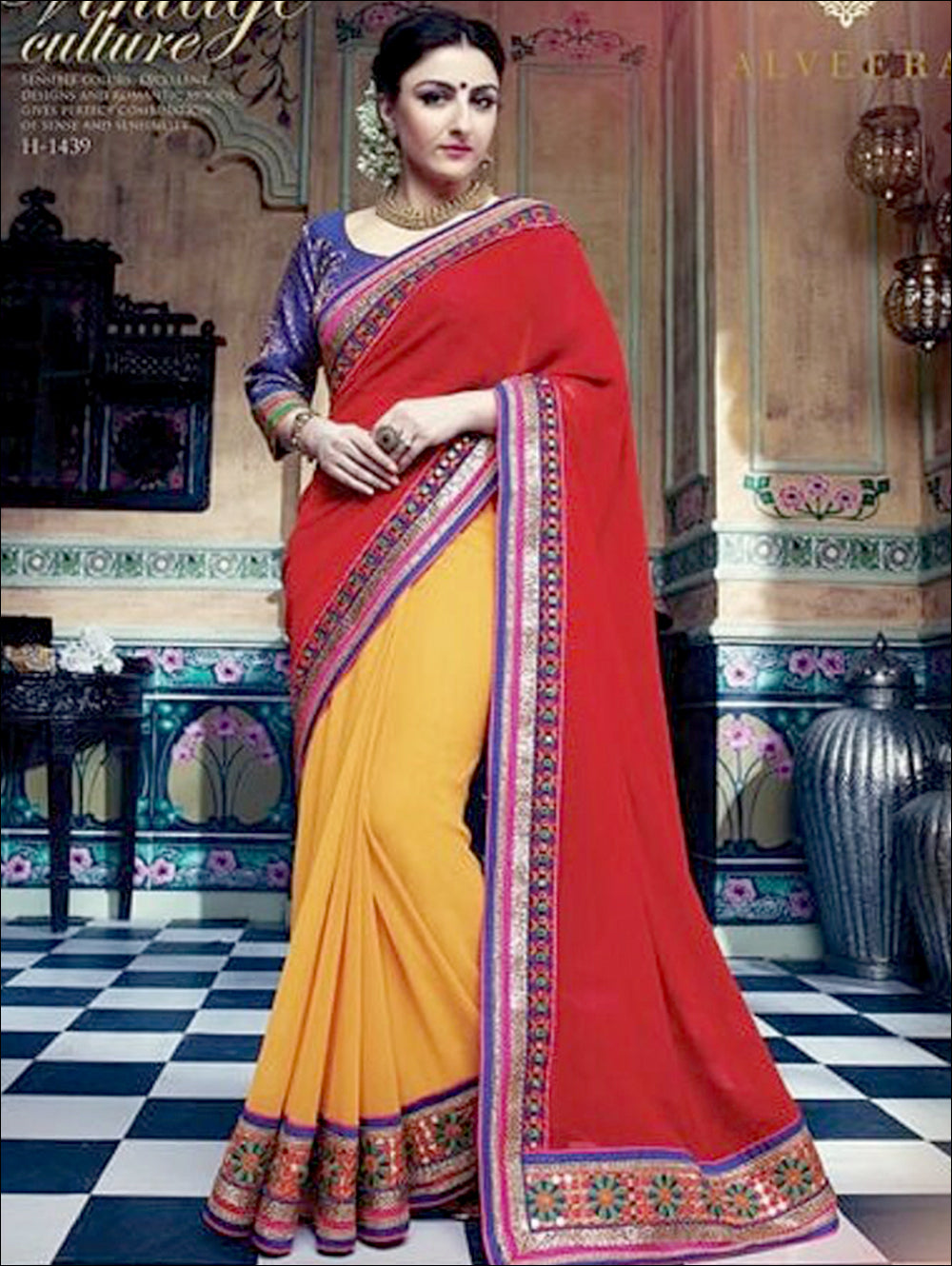 Red and Yellow Designer Georgette Saree