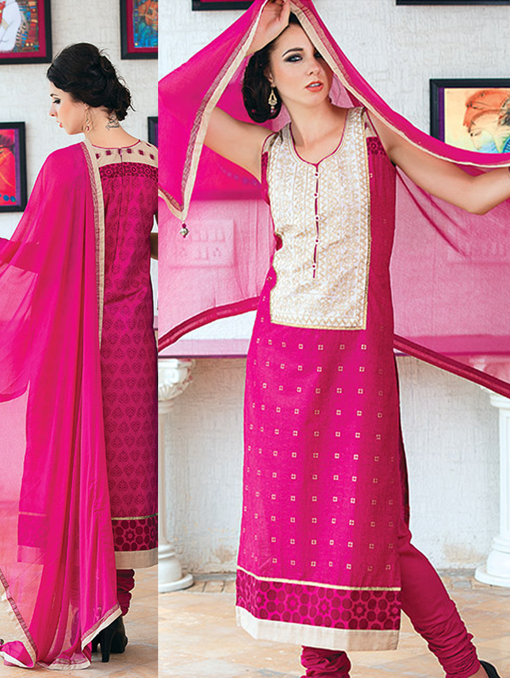 Pink Cream and Beige Cotton Party Wear/Daily Wear Straight Suit