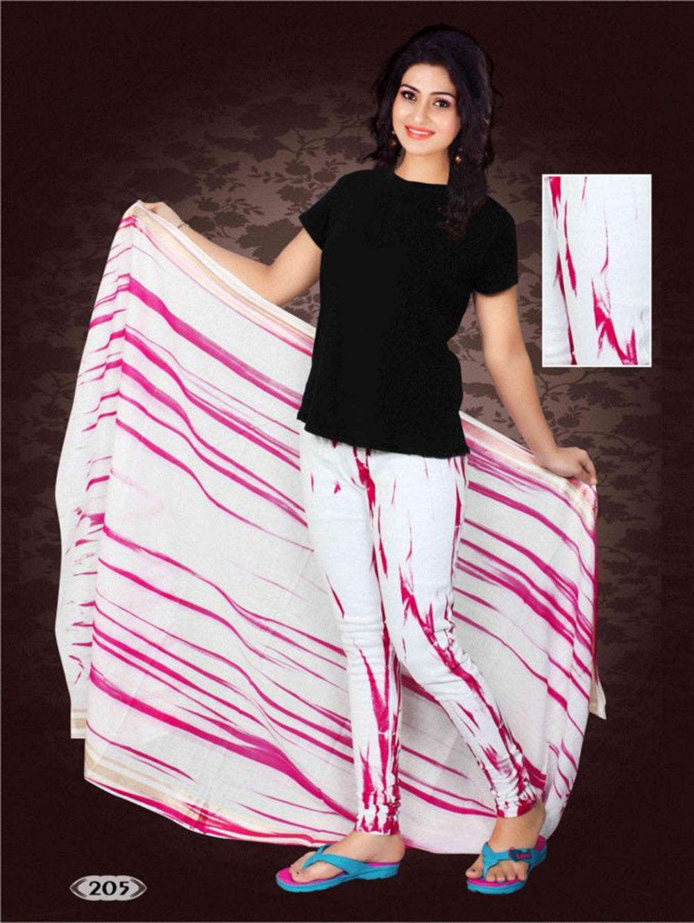 Magenta and White Printed Cotton Legging with Printed Cotton Dupatta Party Wear Stitched Legging