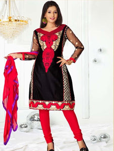 Black and Red Semi-Anarkali Suit